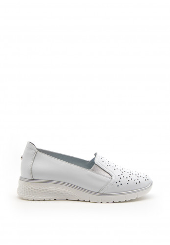 Zanni & Co. Perforated Detail Wedge Shoe, White
