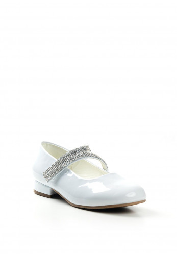 Dubarry Girls Victoria Patent Communion Shoes, White