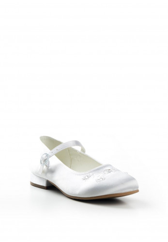 Dubarry Girls Violet Satin Communion Shoes, White