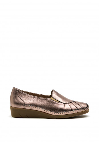 Dubarry Womens Justine Pleated Wedge Shoe, Gold
