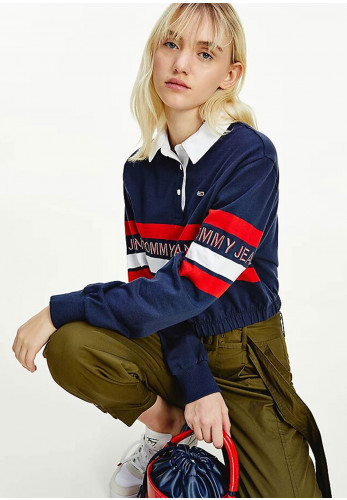 Tommy Jeans Womens Crop Rugby Polo Shirt, Navy