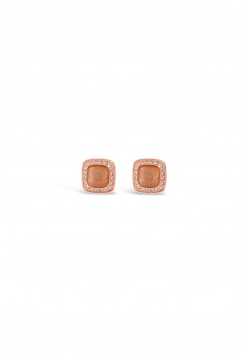 Absolute Nude Square Stud Earrings, Rose Gold