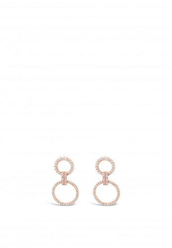 Absolute Double Circle Drop Earrings, Rose Gold