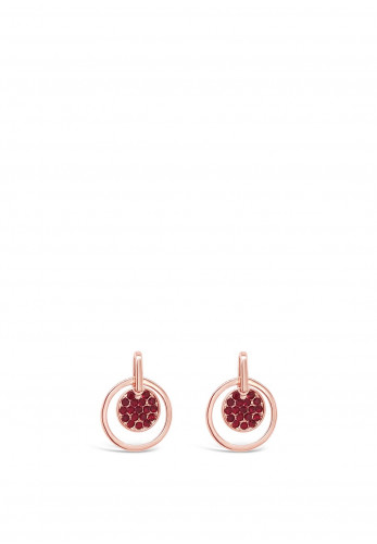 Absolute Rose Gold Red Diamante Disk Drop Earrings