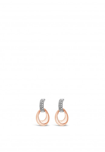 Absolute Two-Tone Drop Earrings, Silver & Rose Gold