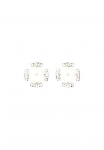 Nour London Pearl Detailed Stud Earrings, Silver