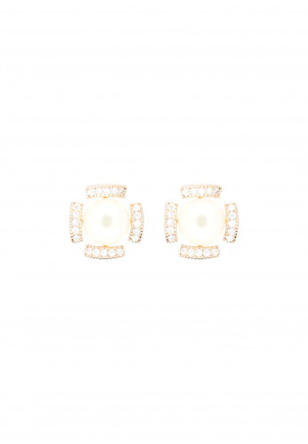 Nour London Pearl Detailed Stud Earrings, Rose Gold