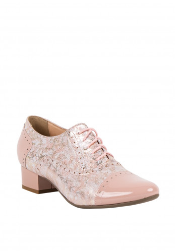 Bioeco by Arka Block Heel Brogue Shoes, Pink