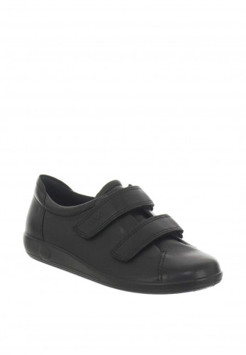Ecco Womens Leather Velcro Strap Shoes, Black