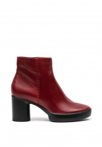 Ecco Womens Leather Round Block Heel Boots, Red