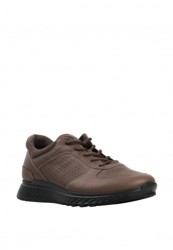 Ecco Mens Exostride Leather Trainer, Dark Clay