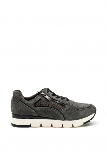 Marco Tozzi Chunky Perforated Suede Trainers, Grey & Black