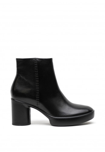 Ecco Womens Leather Round Block Heel Boots, Black