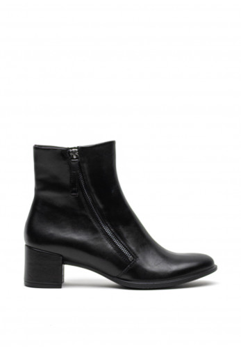 Ecco Leather Side Zips Ankle Chucky Heel Boots, Black