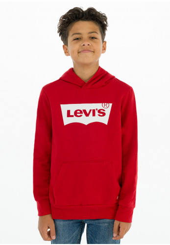Levis Boys White Batwing Logo Hooded Sweater, Red