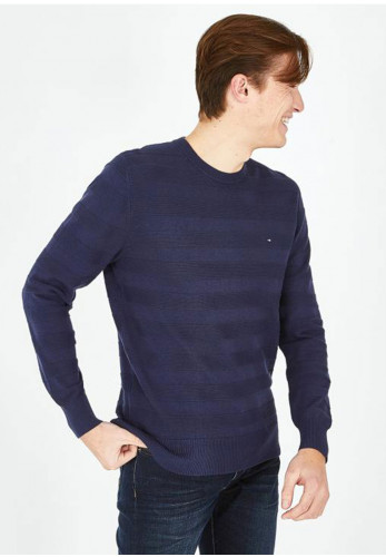 Eden Park Textured Stripe Crew Neck Sweater, Indigo