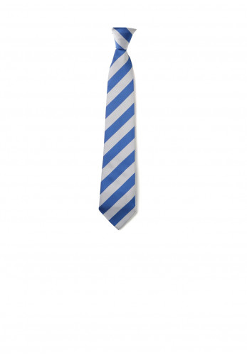 Elasticated Blue and Grey Stripe Kids School Tie
