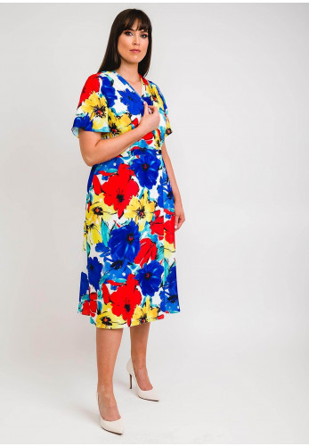 Ella Boo Poppy Floral Print Wrap Midi Dress, Multi
