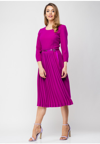 Ella Boo Pleated Panel Pencil Dress, Fuschia Purple