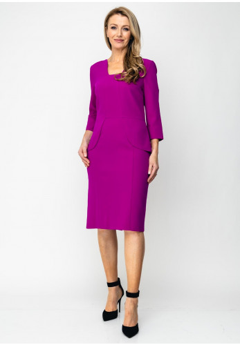 Ella Boo Cropped Sleeve Pencil Dress, Fuschia Purple