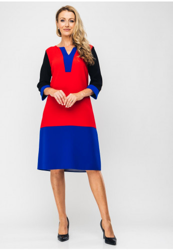 Ella Boo Colour Block Midi Dress, Multi-Coloured