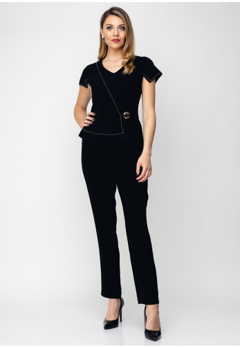 Ella Boo Wrap Panel Jumpsuit, Black