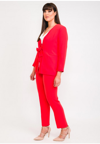 Ella Boo Two Piece Trouser Suit & Jacket, Red