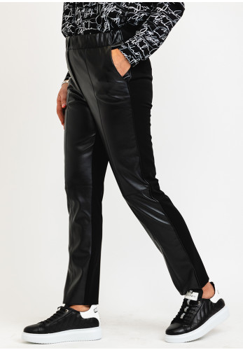 I.nco Faux Leather Front Casual Trousers, Black