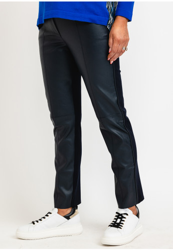 I.nco Faux Leather Front Casual Trousers, Navy