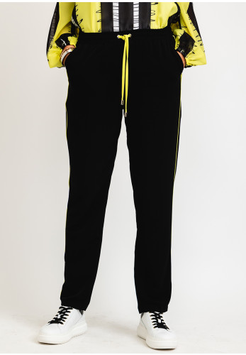 I.nco Piped Stripe Casual Trousers, Black & Lime