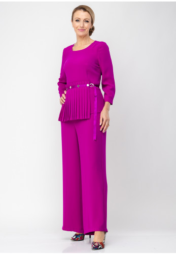 Ella Boo Pleat Panel Top & Trousers, Fuschia Purple