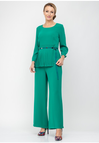 Ella Boo Pleat Panel Top & Trousers, Jade Green
