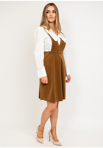 Seventy1 V Neck Buttoned Corduroy Pinafore, Taupe