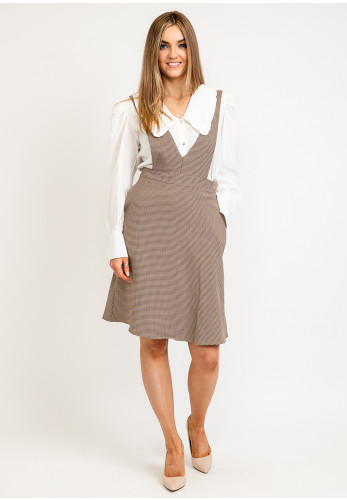 Seventy1 V Neck Buttoned Houndstooth Pinafore, Taupe
