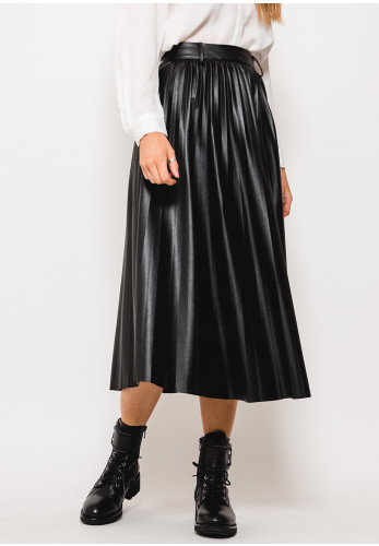 Seventy1 Faux Leather Pleated Midi Skirt, Black