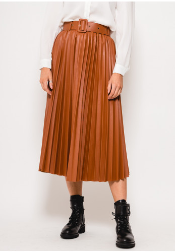 Seventy1 Faux Leather Pleated Midi Skirt, Tan