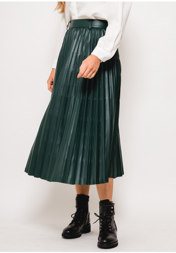 Seventy1 Faux Leather Pleated Midi Skirt, Green