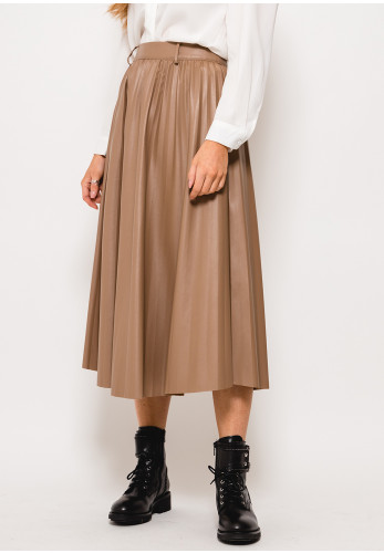 Seventy1 Faux Leather Pleated Midi Skirt, Taupe