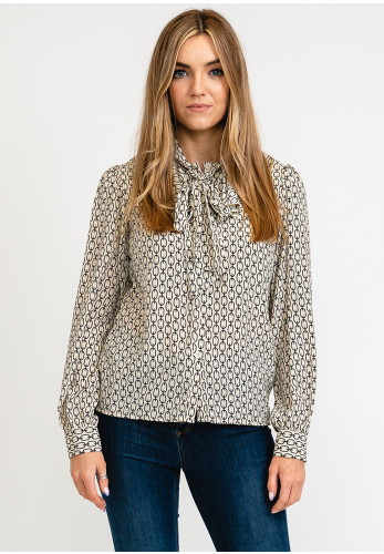 Seventy1 Abstract Chain Ruffle Collar Blouse, Beige Black