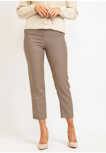 Seventy1 Houndstooth Print Trousers, Beige Multi