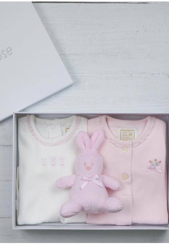 Emile Et Rose Baby Girl Tessa Babygrows and Teddy Giftbox, Pink