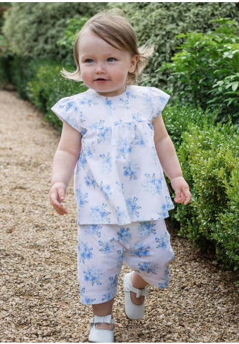 Emile Et Rose Baby Girl Willow Romper Outfit Set, Blue