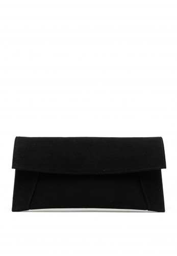Emis Suede Clutch Bag, Black