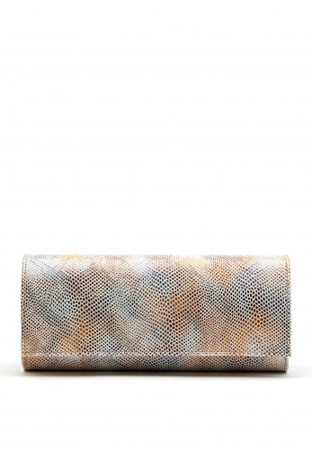 Emis Leather Metallic Reptile Print Clutch Bag, White Multi