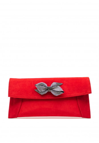 Emis Suede Diamante Bow Clutch Bag, Red