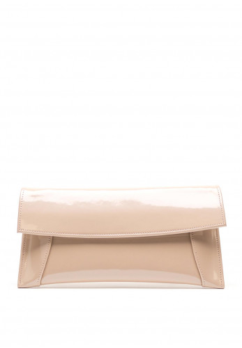 Emis Leather Patent Clutch Bag, Nude