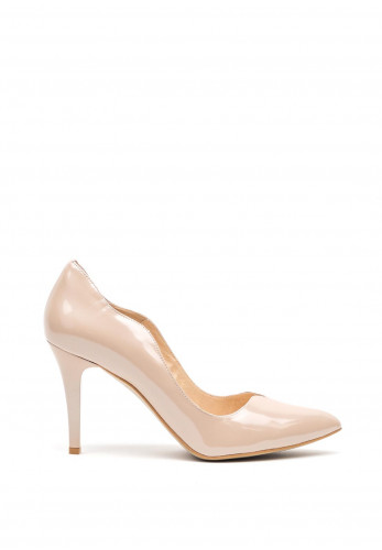 Emis Leather Scallop Edge High Heel Shoes, Nude