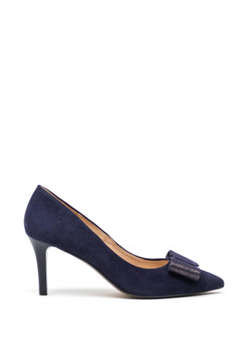 Emis Leather Suede Bow Court Shoes, Navy