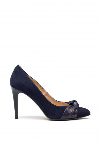 Emis Leather Suede Twisted Bow Pointed Toe High Heel Shoes, Navy
