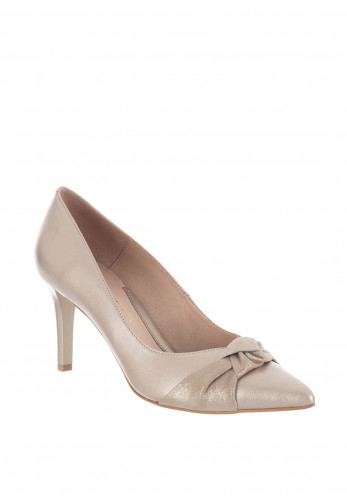Emis Leather Knot Court Shoes, Champagne